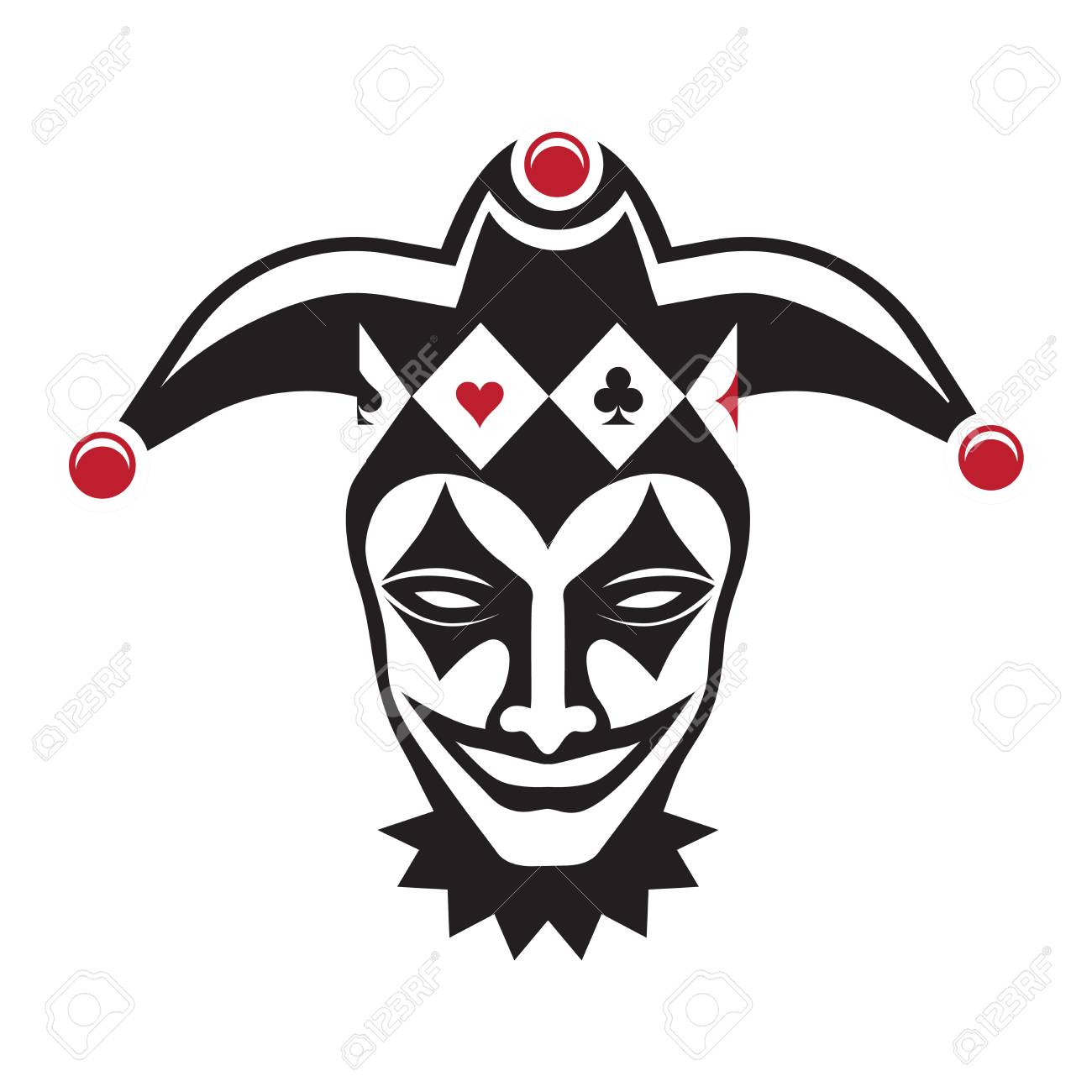 Laughing joker head. Jester. Buffoon. for your design, vector illustration - 116495954