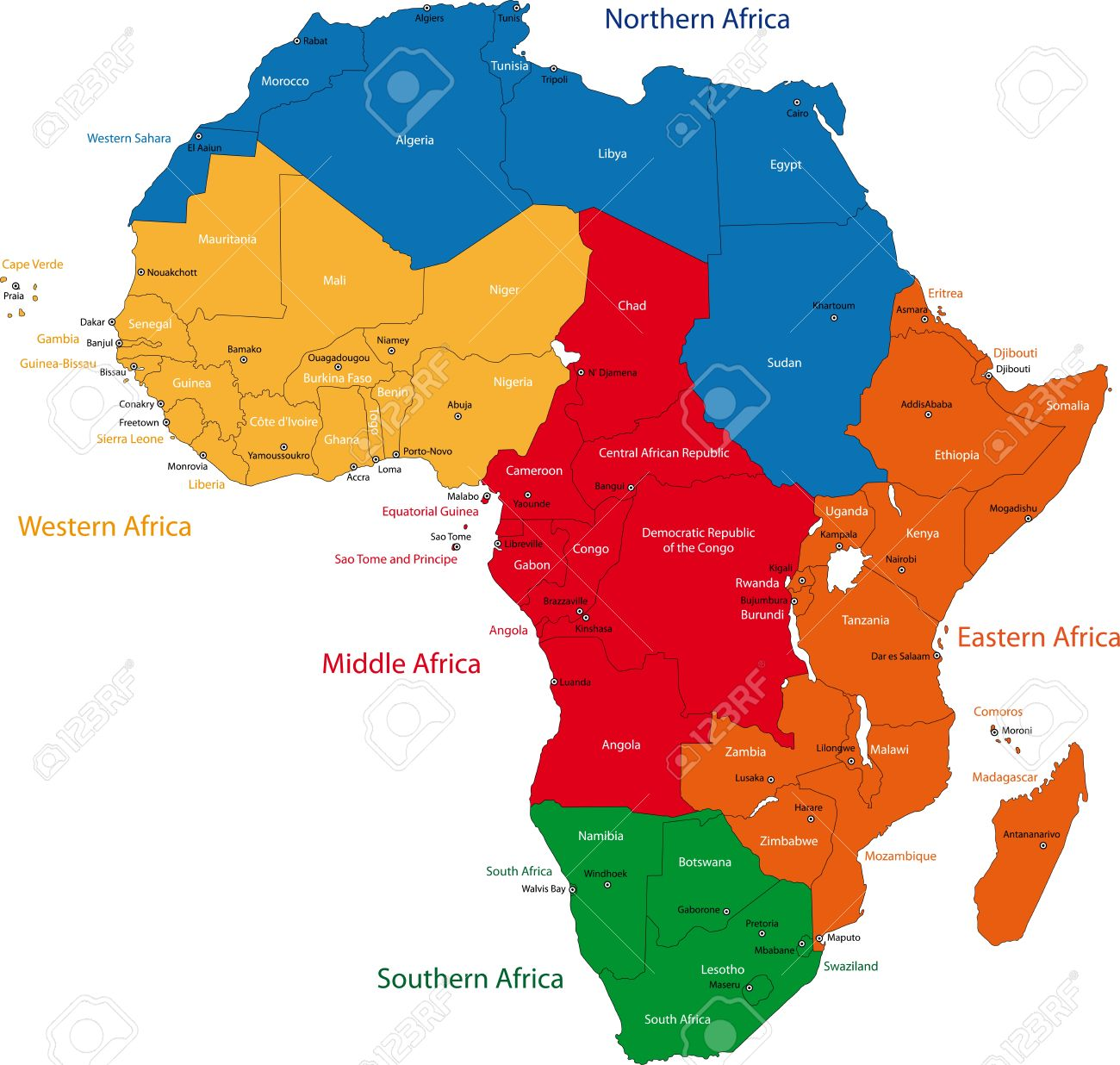 Colorful Regions Of Africa With Countries And Capital Cities - Regions of africa