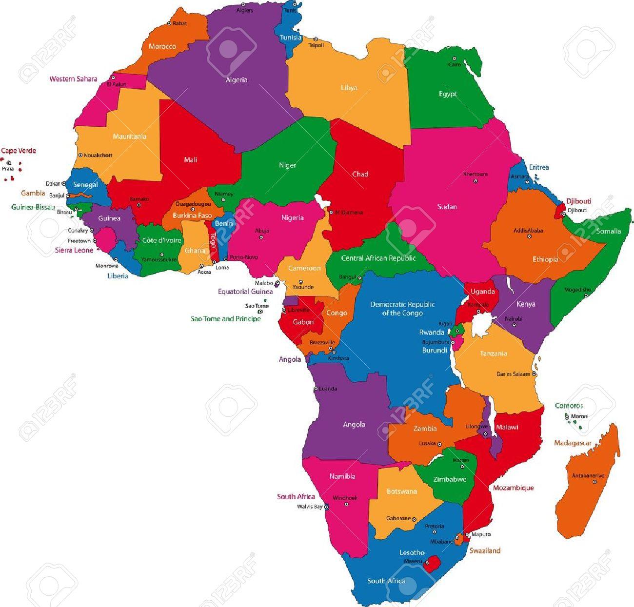 Carte De Lafrique Du Sud Avec Les Capitales.Carte Coloree De L Afrique Avec Les Pays Et Capitales
