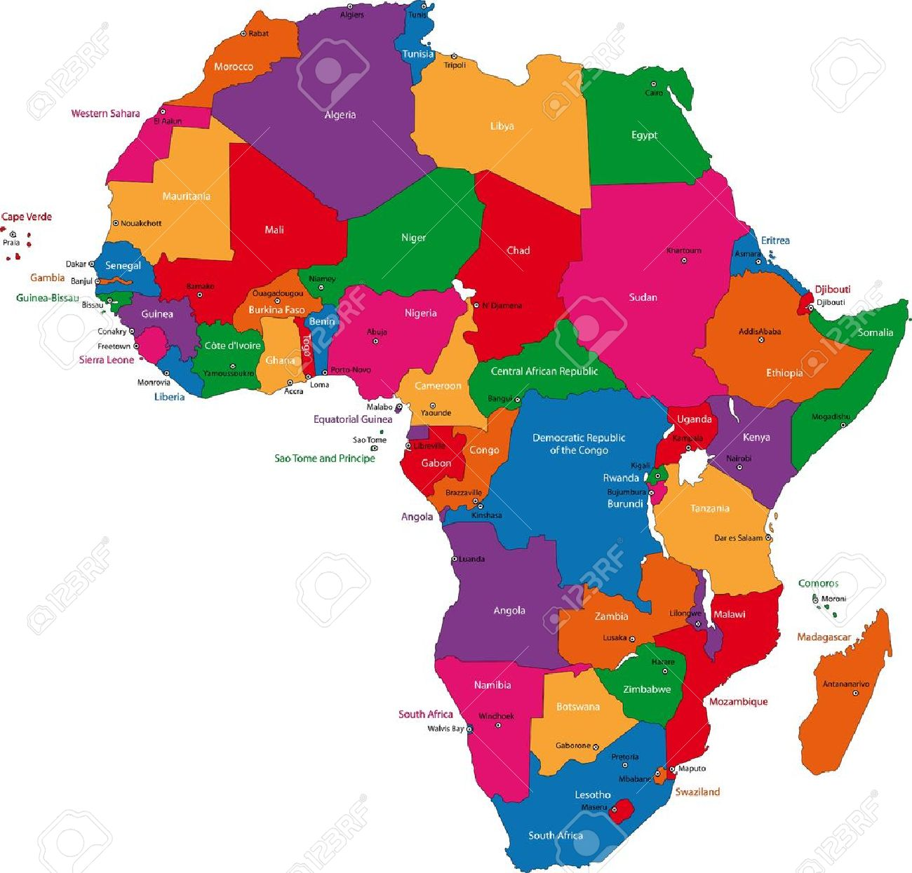 Colorful Africa Map With Countries And Capital Cities Royalty Free
