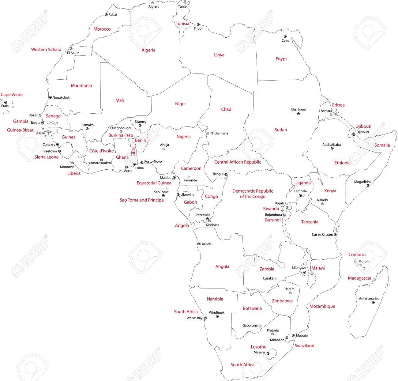 Africa Map With Countries And Capital Cities Royalty Free Cliparts - Cities map of algeria