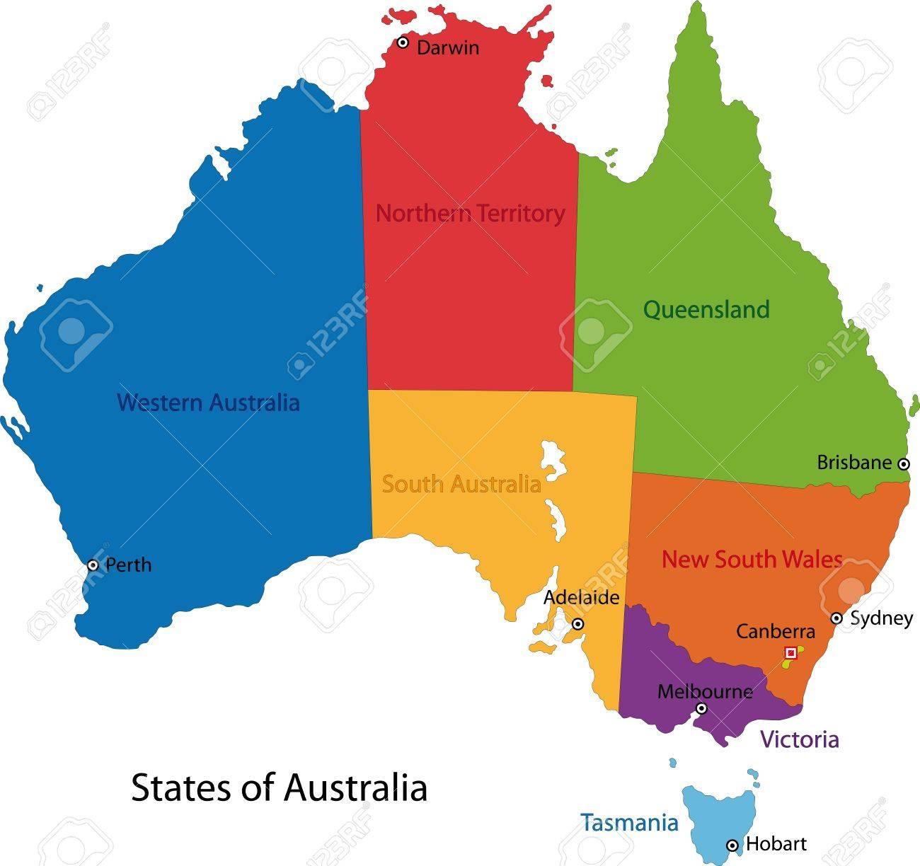 Carte Australie Avec Les Villes.Carte Coloree Australie Avec Les Regions Et Les Principales Villes
