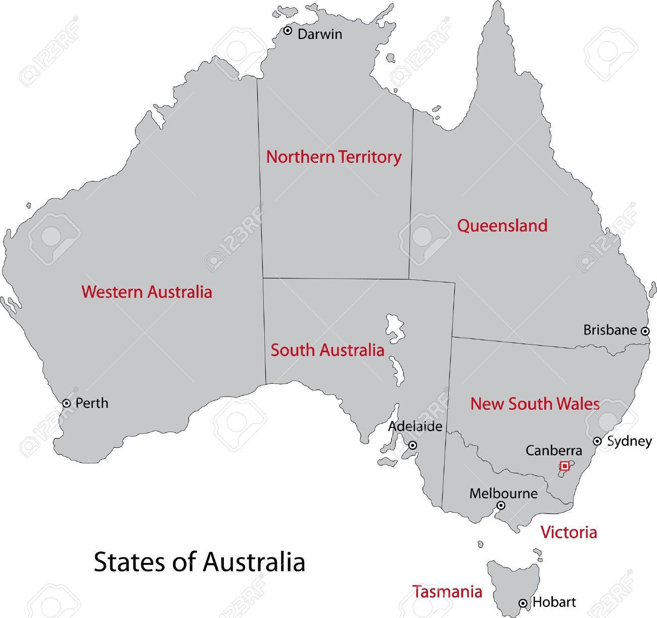 Australia Map Main Cities.Gray Australia Map With Regions And Main Cities