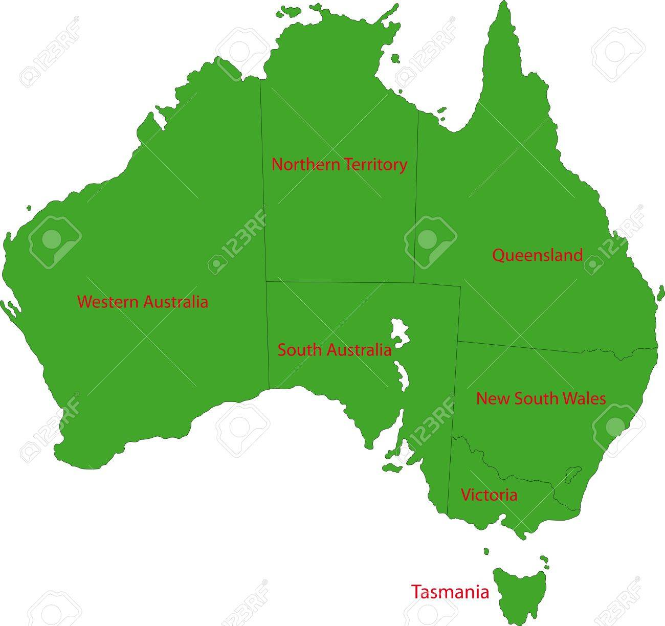 Map Of Administrative Divisions Of Australia Royalty Free Cliparts