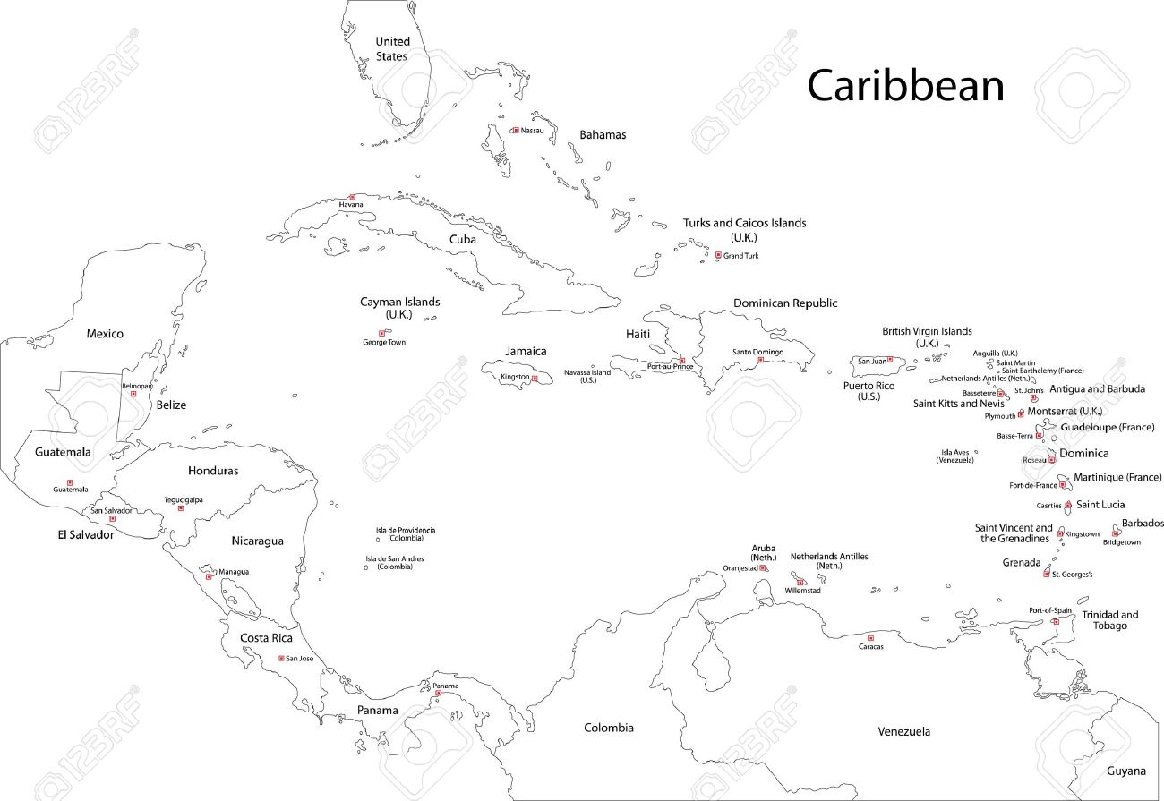 caribbean map outline middle east map