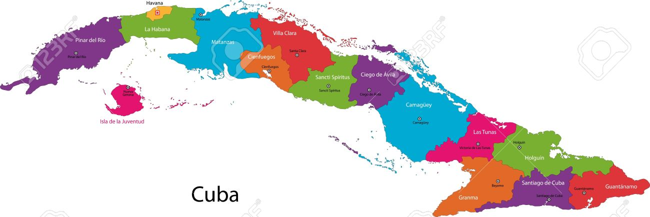Colorful Cuba Map With Provinces And Capital Cities Royalty Free - Cuba provinces map