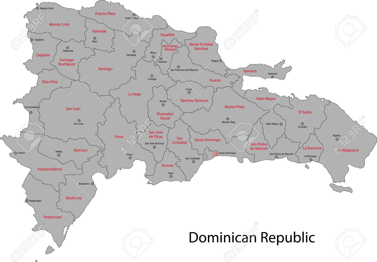dominican republic map with provinces and capital cities stock vector 21687774