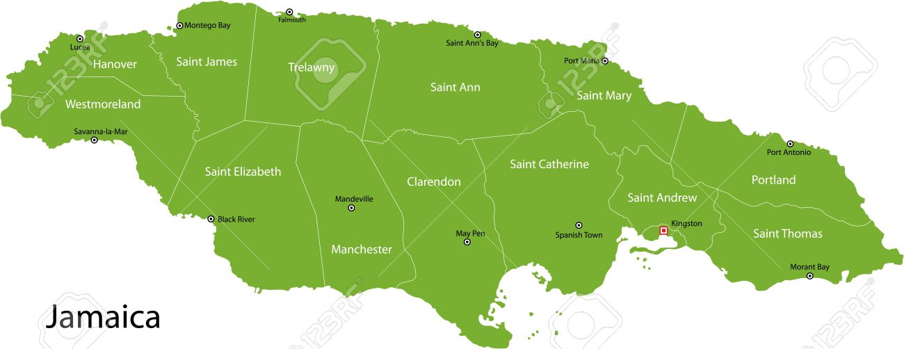 Jamaica Map With Parishes Borders And The Capital Cities Royalty ...