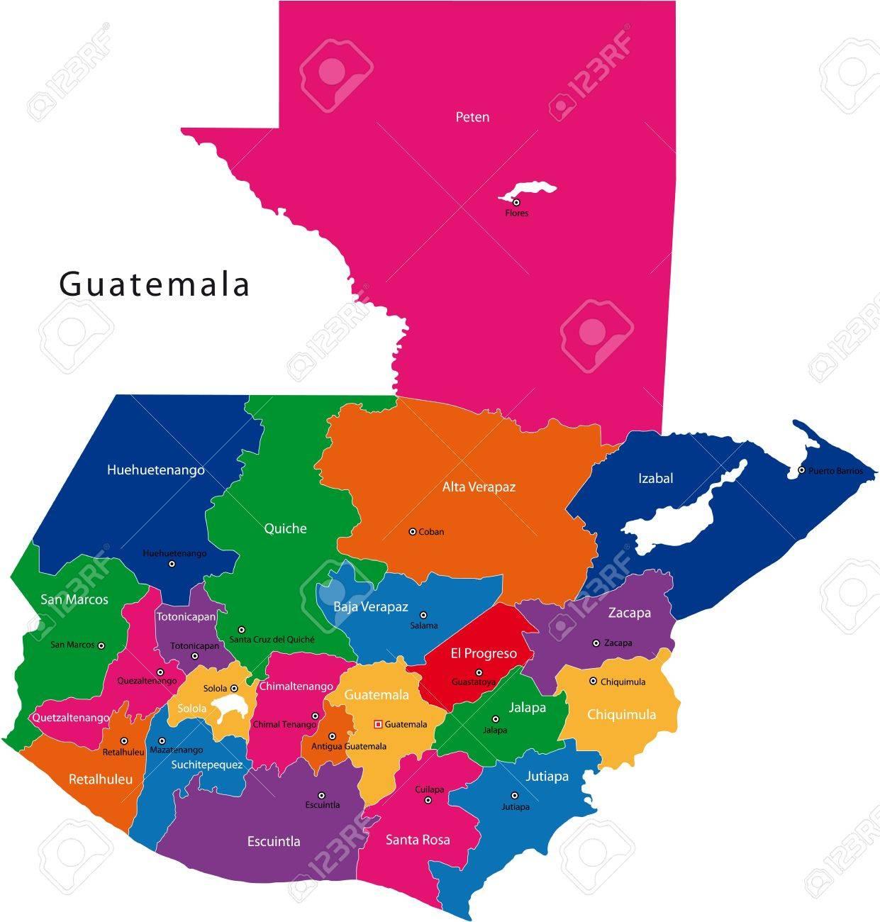 guatemala mapa Mapa De La República De Guatemala Con Los Departamentos De Color  guatemala mapa