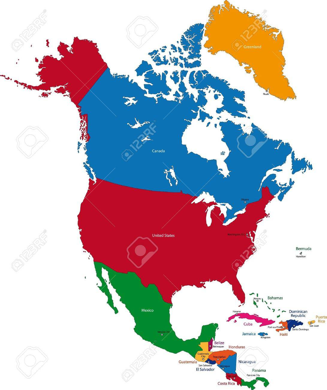 North America Map Countries And Capitals.Colorful North America Map With Countries And Capital Cities Royalty