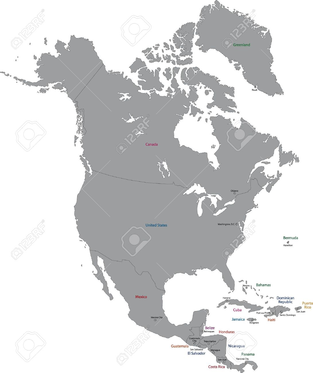 Map Of North America And Canada With Cities.Grey North America Map With Countries And Capital Cities