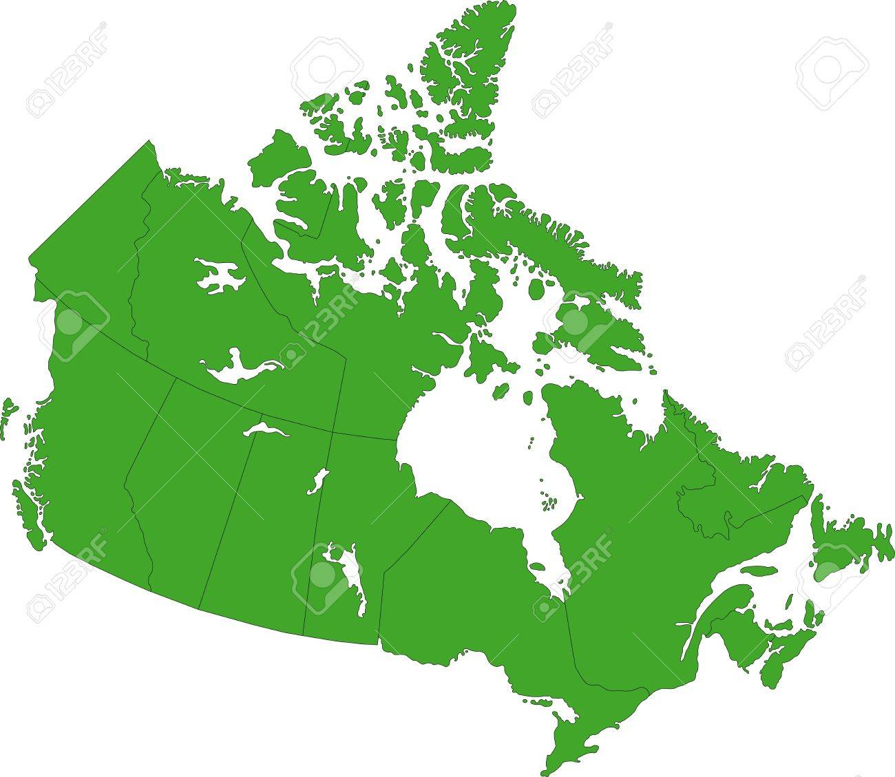 Provinces And Capitals Of Canada Map.Green Canada Map With Provinces And Capital Cities