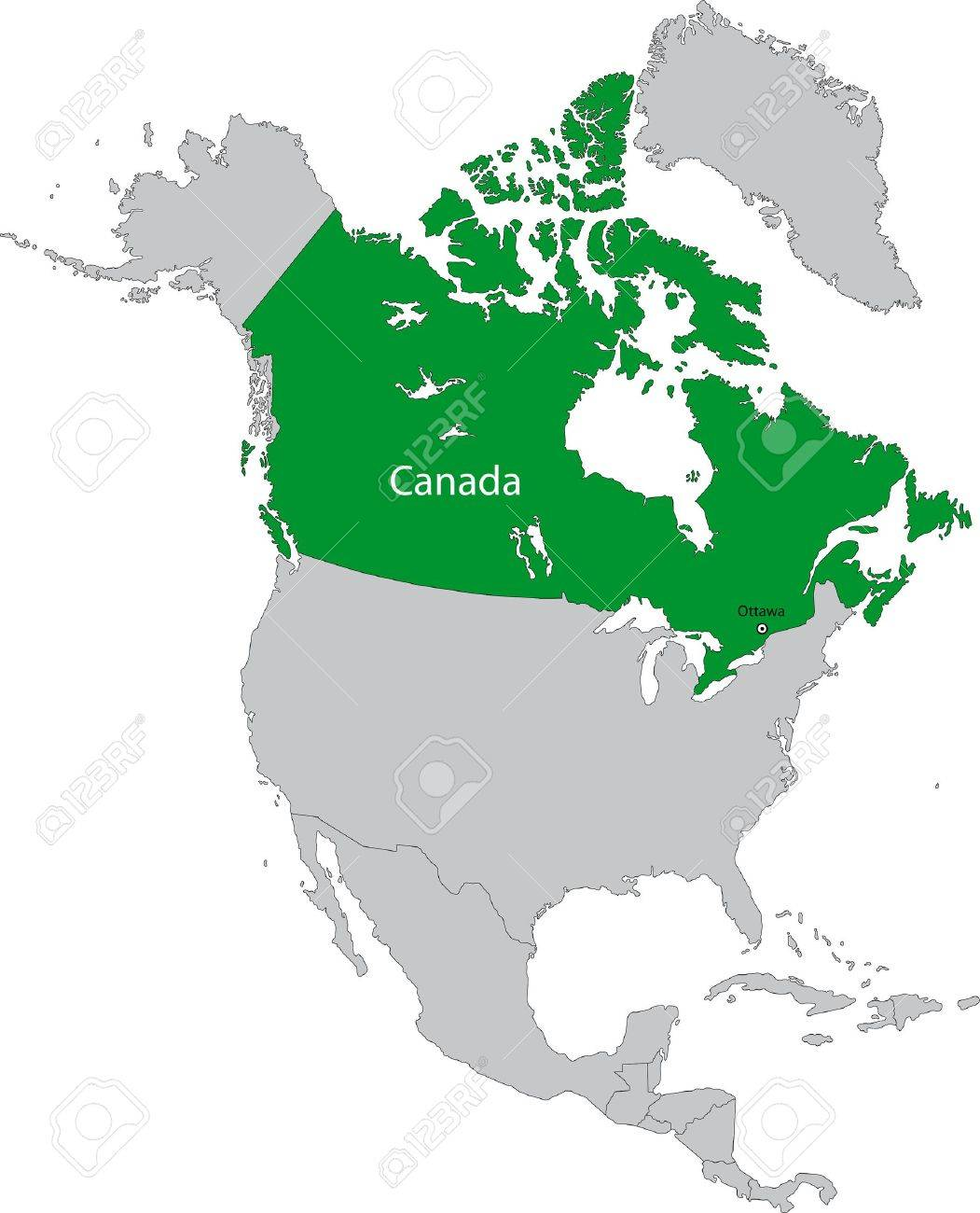 Location Of Canada On The North America Continent Royalty Free - Canada location