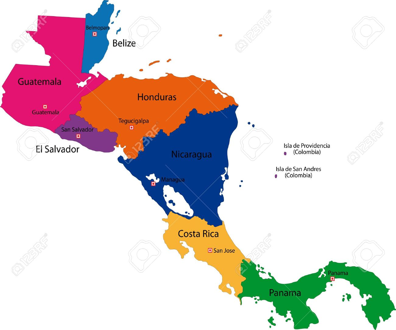 Map Of Central America Map With Country Borders Royalty Free ...