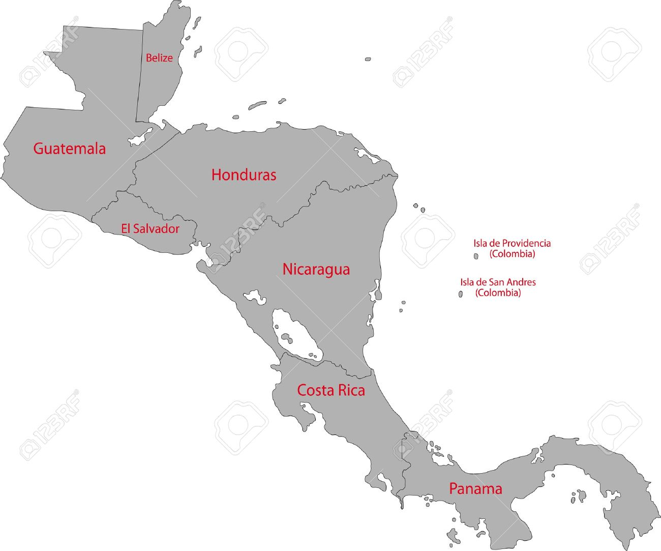 Gray Central America Map With Country Borders Royalty Free - Panama central america map