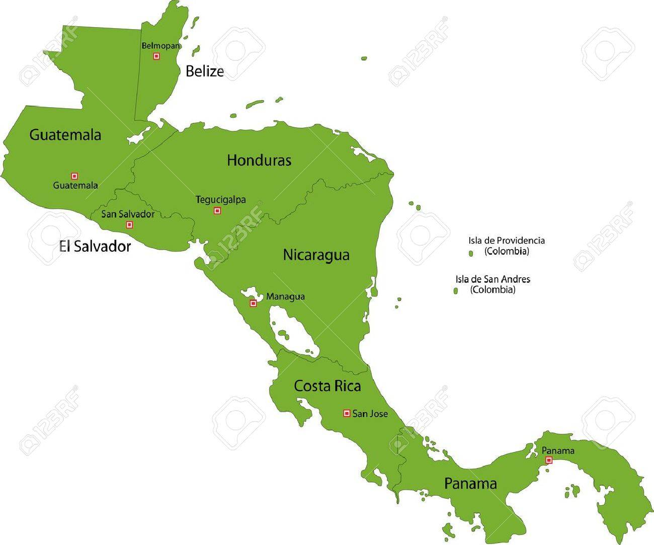 Green Central America Map With Country Borders Royalty Free - Country map of nicaragua
