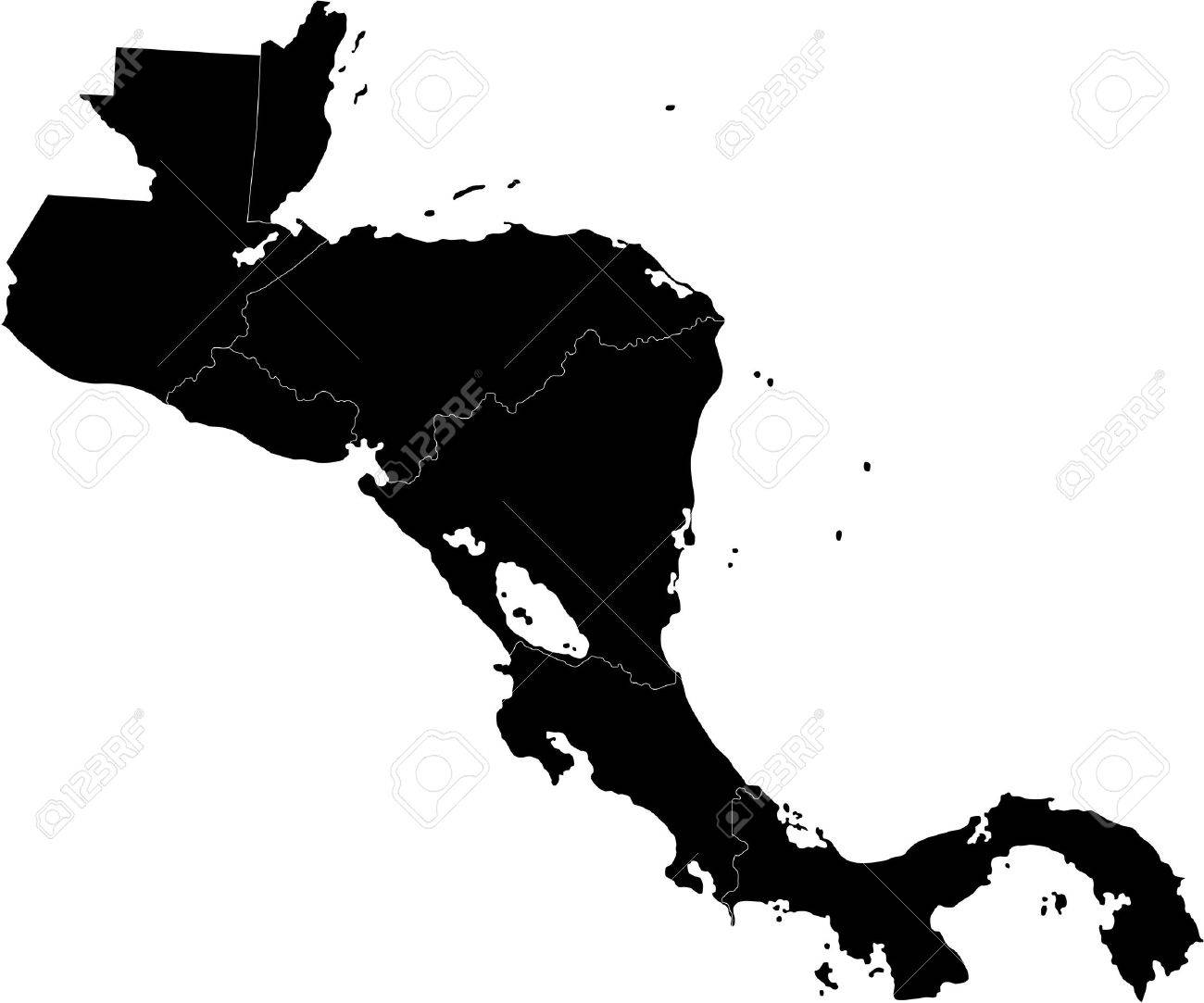 Black Central America Map With Country Borders Royalty Free Cliparts