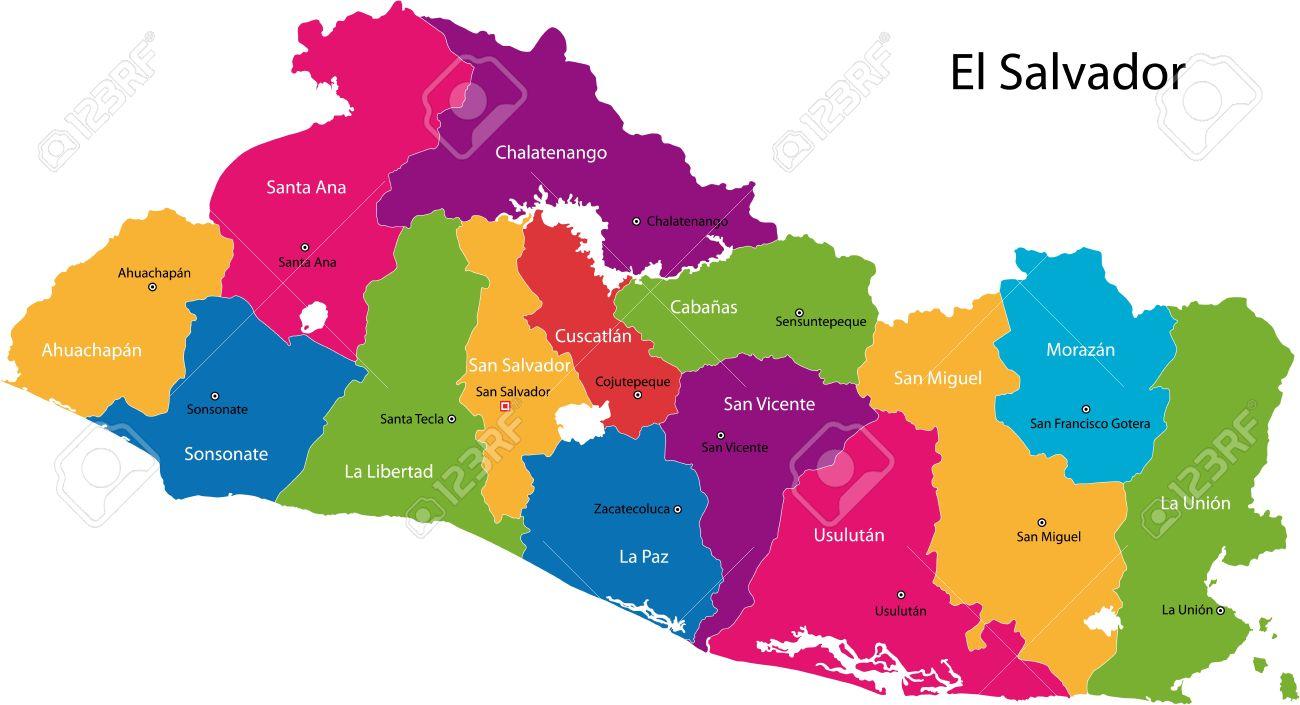 Map Of The Republic Of El Salvador With The Departments Colored - Cities map el salvador map