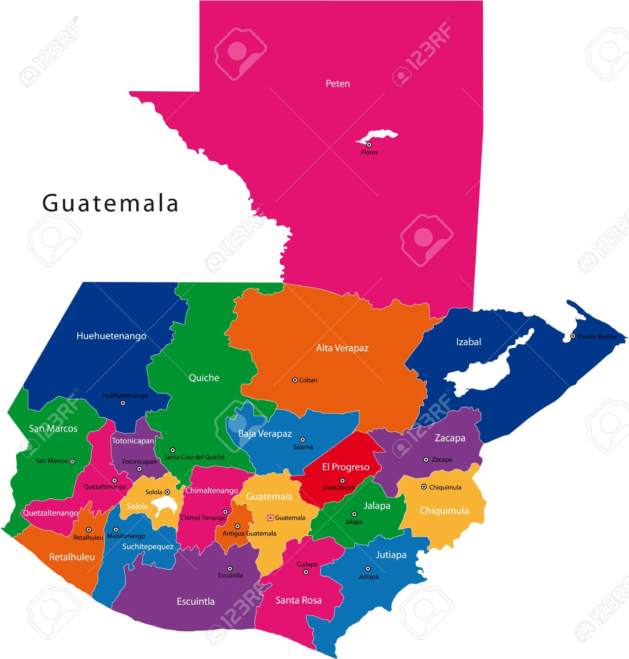 Map Of The Republic Of Guatemala With The Departments Colored ...