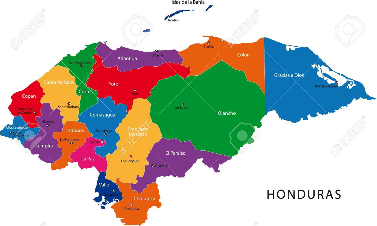 Map Of The Republic Of Honduras With The Departments Colored