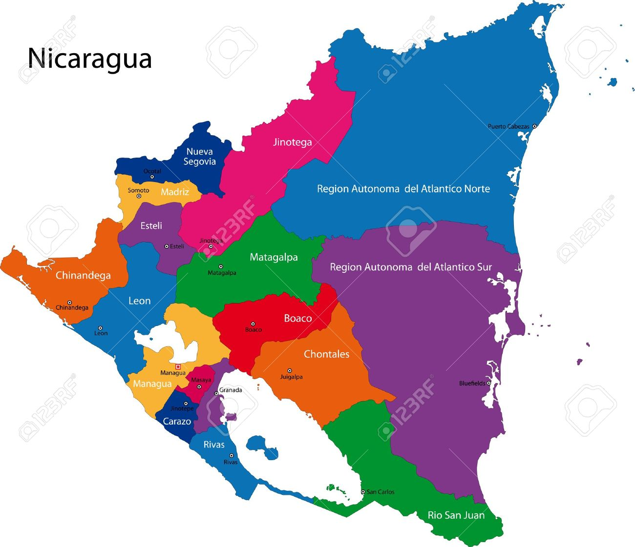 Map Of The Republic Of Nicaragua With The Departments Colored