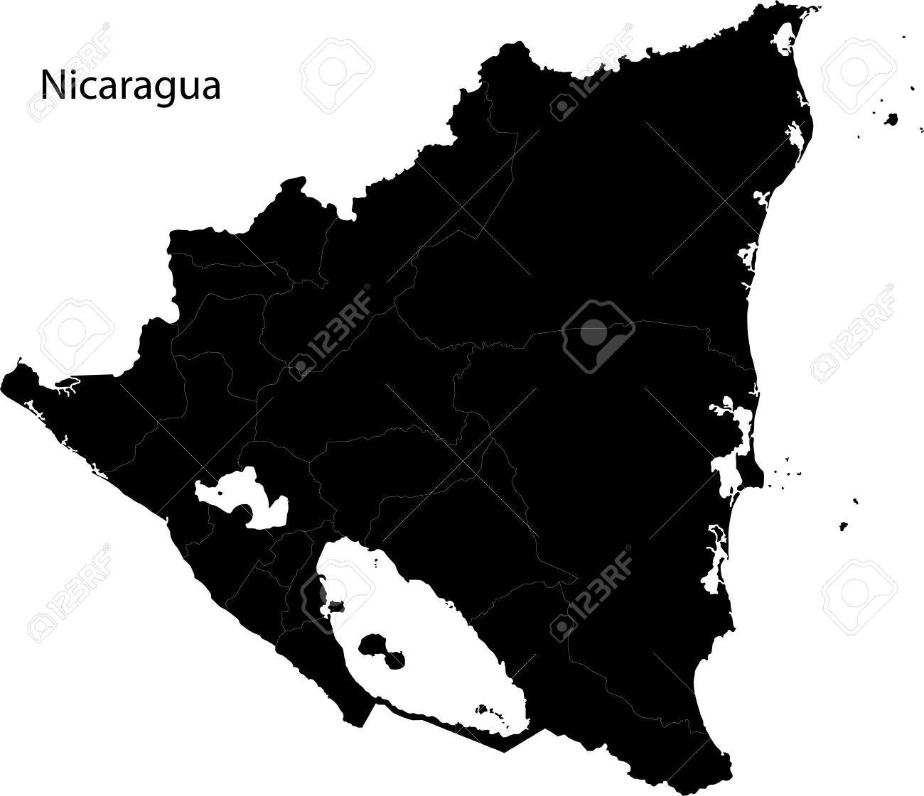 Black Nicaragua Map With Department Borders Royalty Free Cliparts