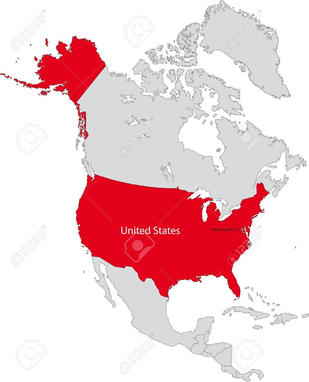 Location Of The United States Of America On The North America Continent Stock Vector 21758416