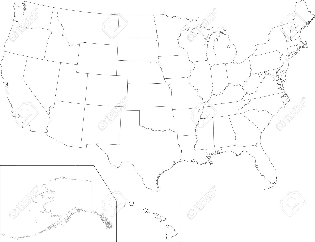 Outline USA Map With States Royalty Free Cliparts Vectors And - Usa map showing states