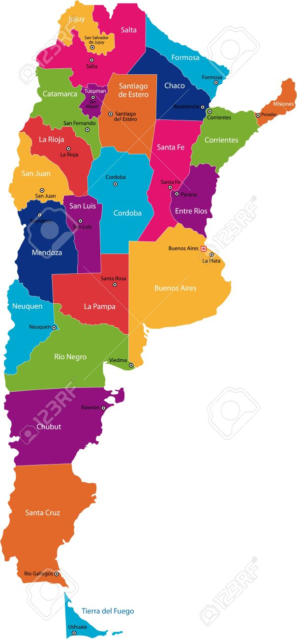 Map Of Administrative Divisions Of Argentina Royalty Free Cliparts ...