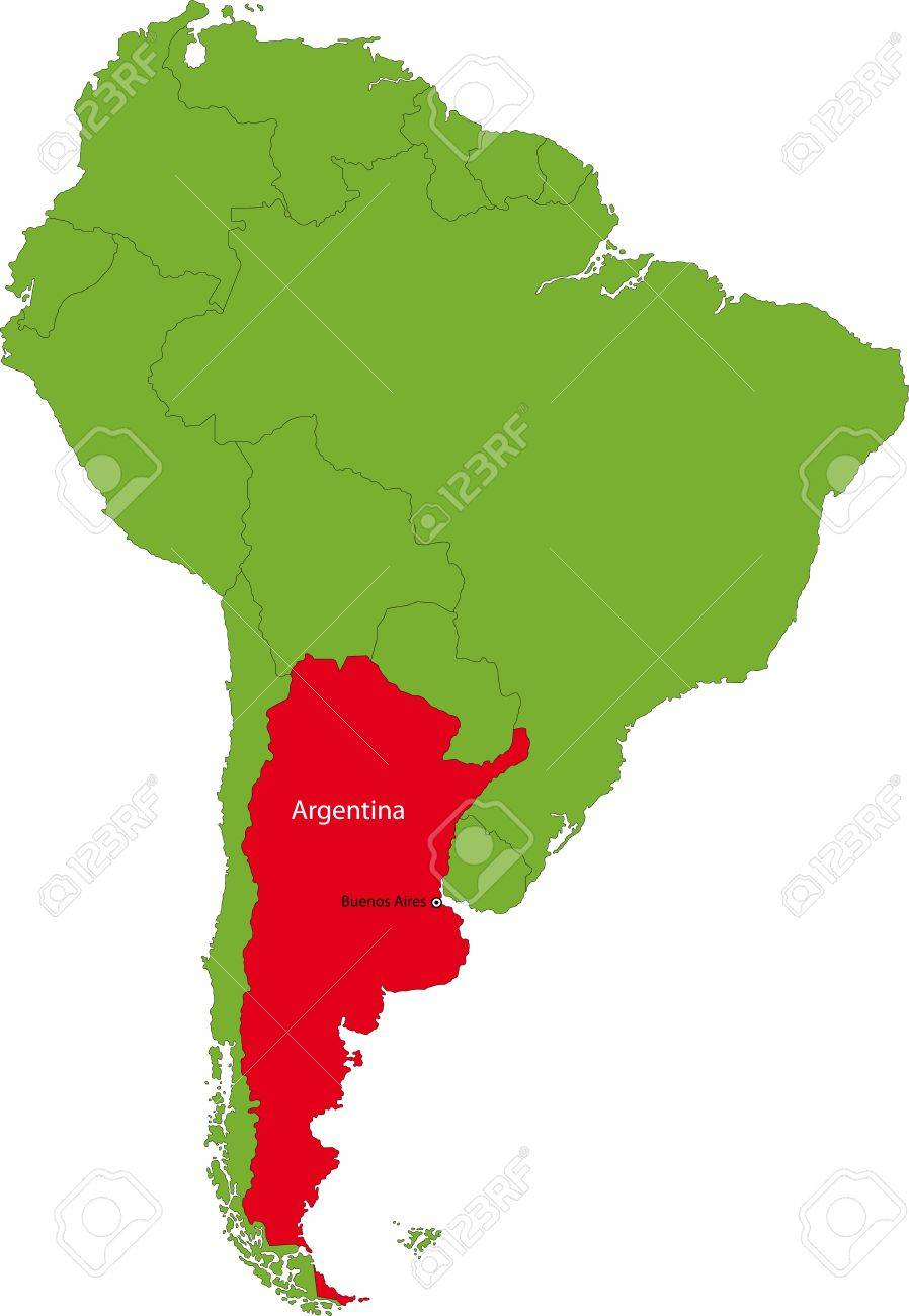 Location Of Argentina On The South America Continent Royalty Free - Argentina map continent