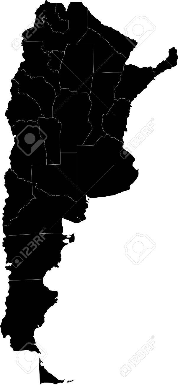Map Of Administrative Divisions Of Argentina Royalty Free Cliparts - Argentina map shape