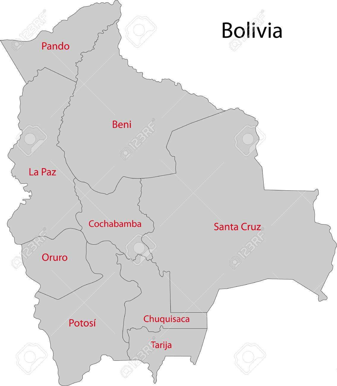 Map Of Administrative Divisions Of Bolivia Royalty Free Cliparts