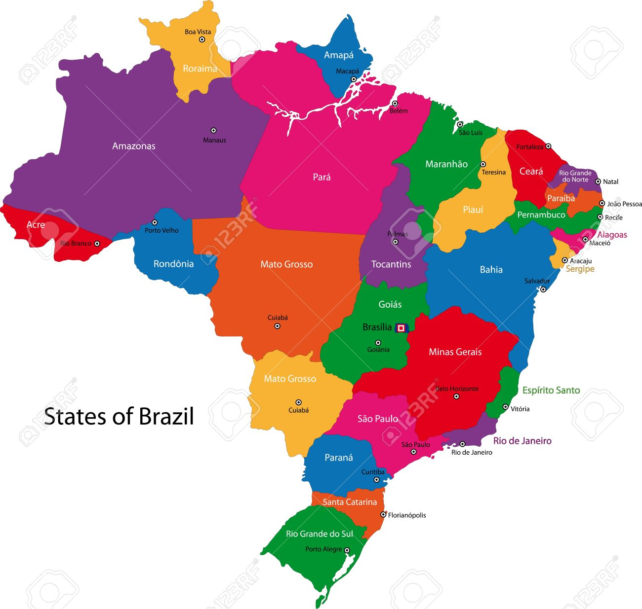 Colorful Brazil Map With States And Capital Cities Royalty Free