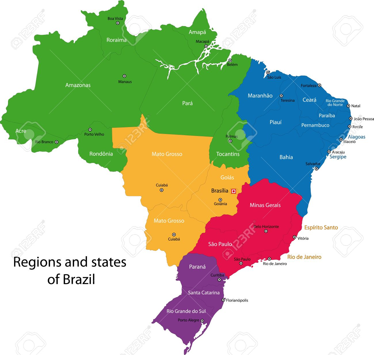 Colorful Brazil Map With Regions States And Capital Cities Royalty