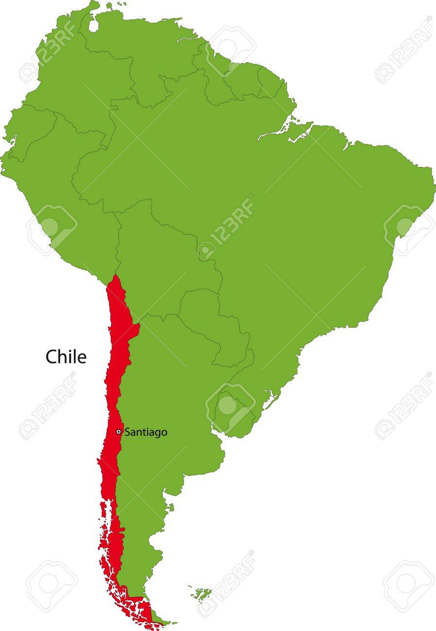Location Of Chile On The South America Continent Royalty Free - Chile location