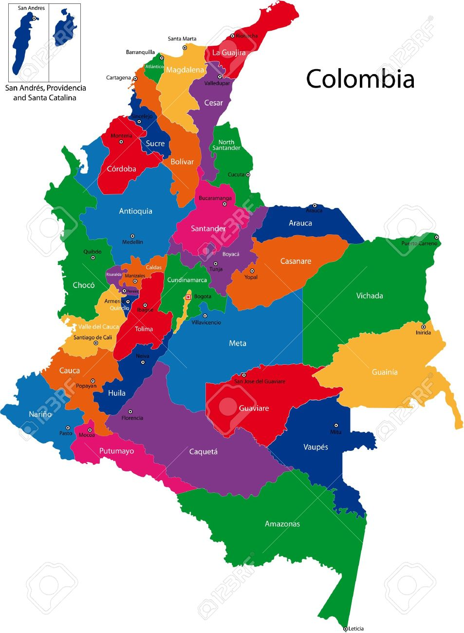 Map Of The Republic Of Colombia With The Regions Colored In Bright - Colombia map