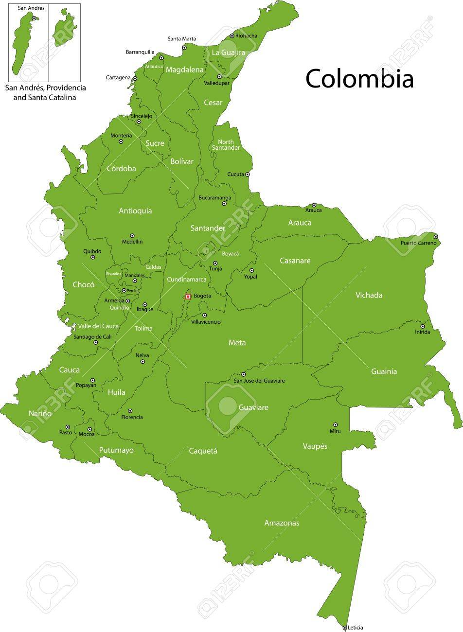 Map Of Administrative Divisions Of Colombia Royalty Free Cliparts