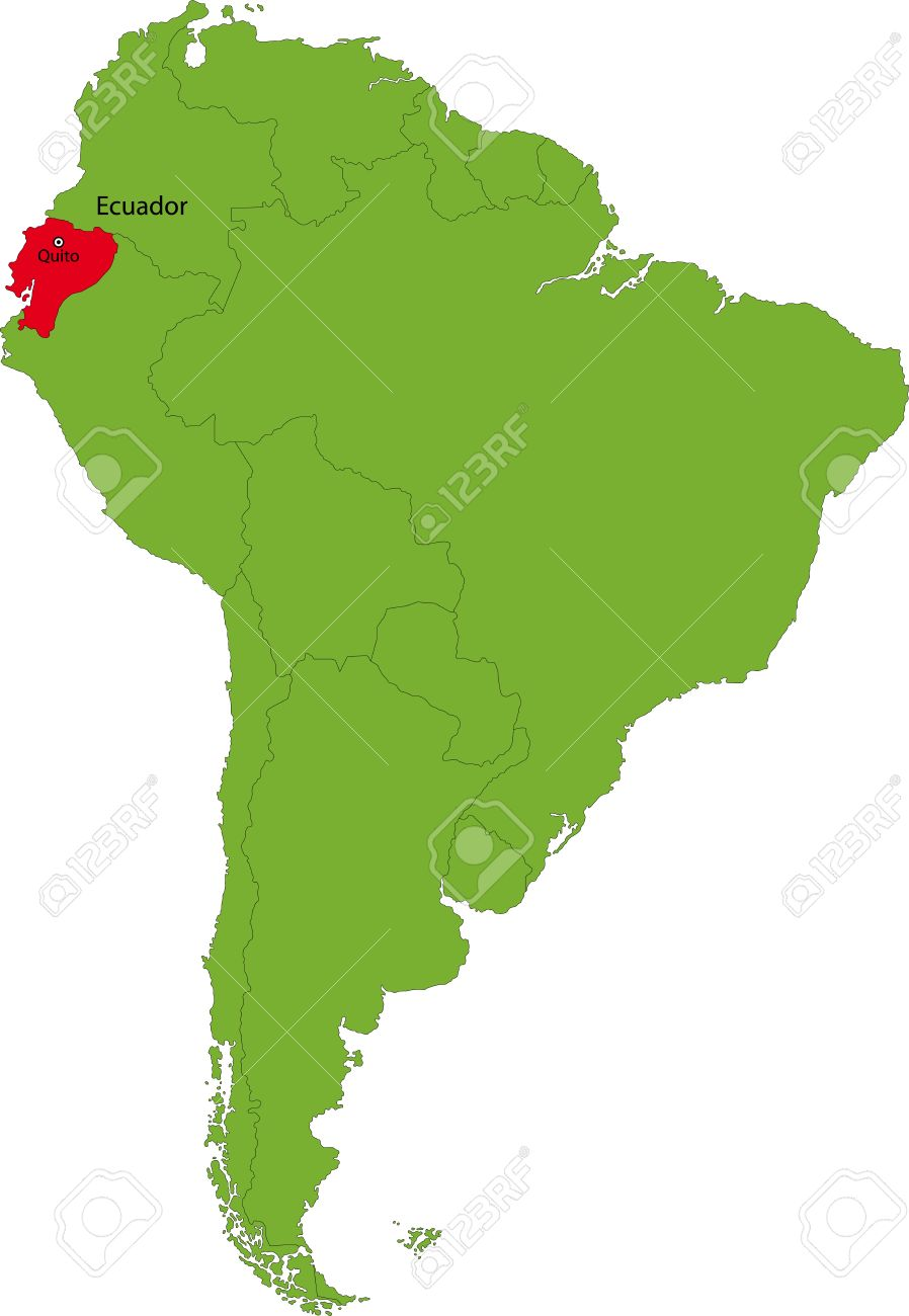 Location Of Ecuador On The South America Continent Royalty Free