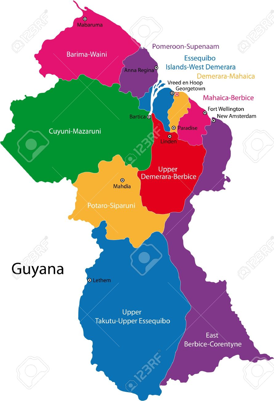 Map of the co operative republic of guyana with the regions colored map of the co operative republic of guyana with the regions colored in bright colors sciox Images