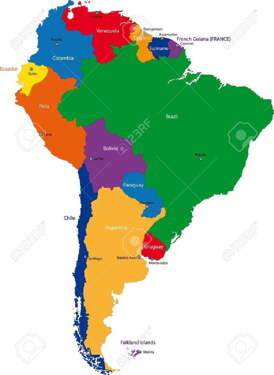 Colorful South America Map With Countries And Capital Cities - Bolivia cities map