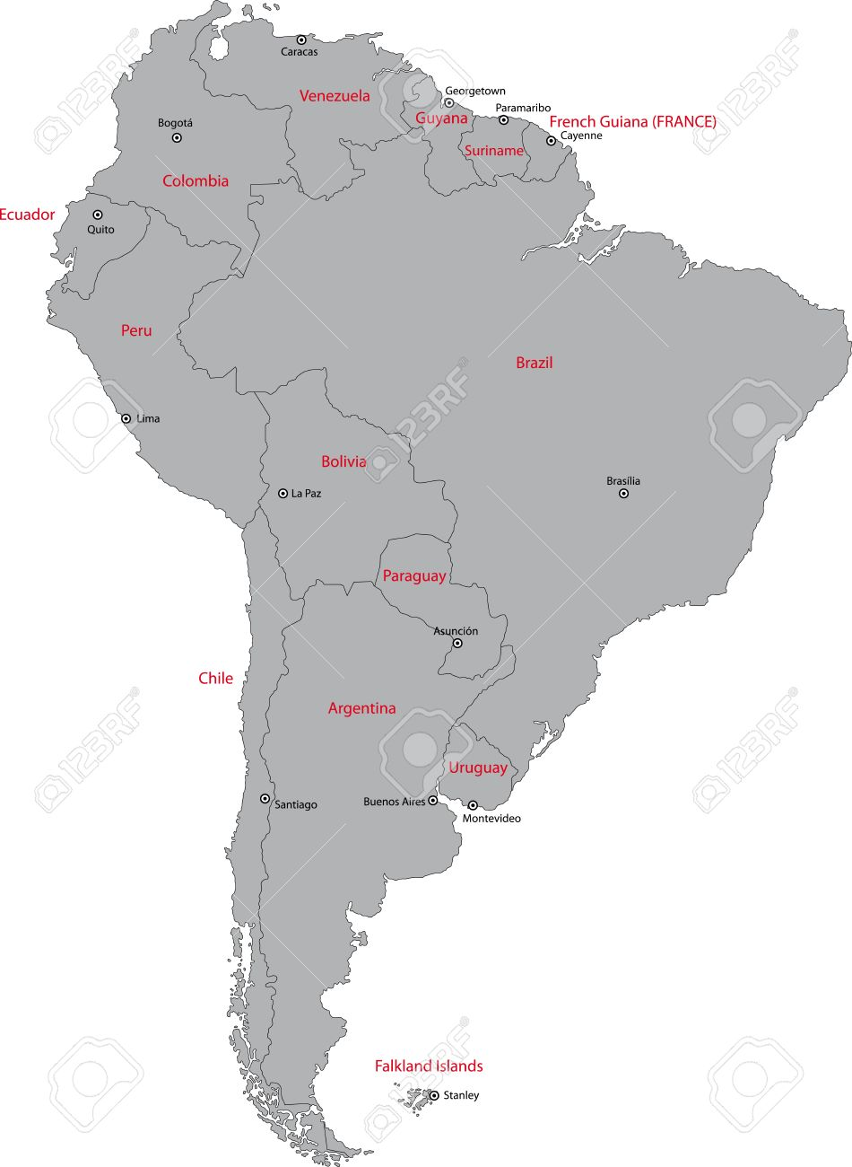 Grey South America Map With Countries And Capital Cities Royalty - Ecuador south america map