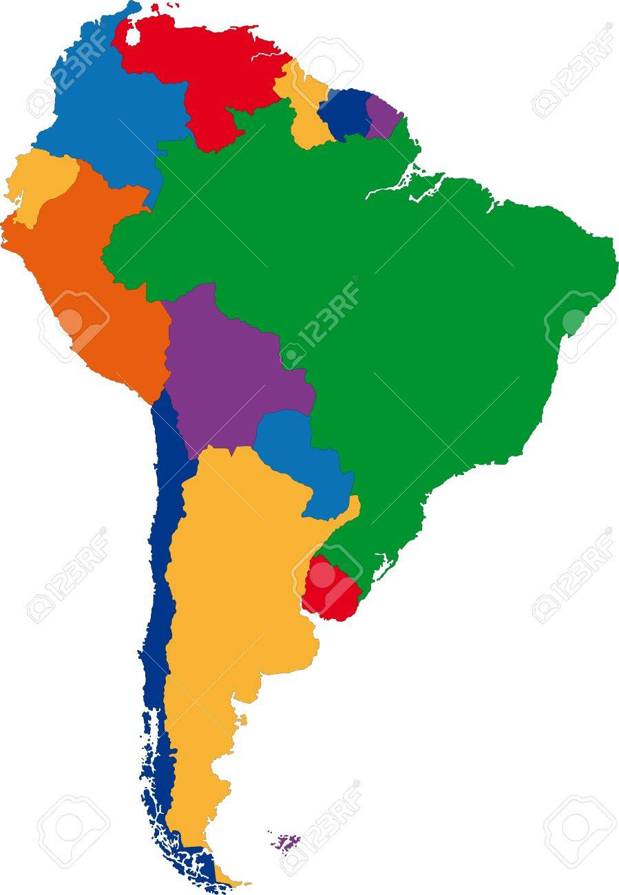 Colorful south america map with country borders royalty free colorful south america map with country borders stock vector 21801448 gumiabroncs Gallery