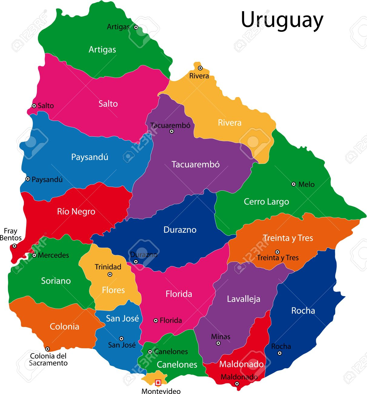 Map Of The Republic Of Uruguay With The Departments Colored In ...