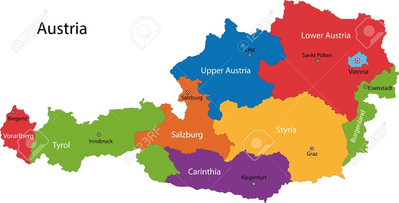 Colorful Austria Map With States And Main Cities Royalty Free - Austria map