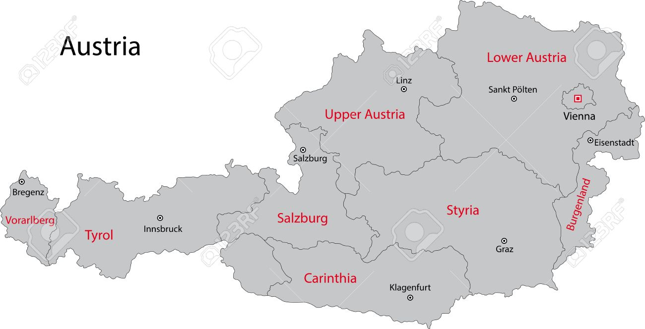 Gray Austria Map With States And Main Cities Royalty Free Cliparts - Map of austria cities