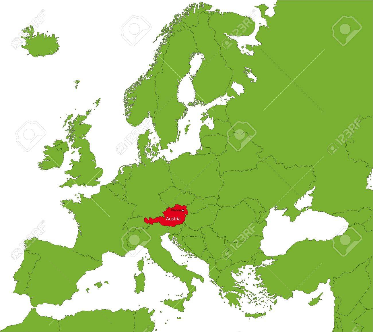 Location Of Austria On The Europa Continent Royalty Free Cliparts - Austria location