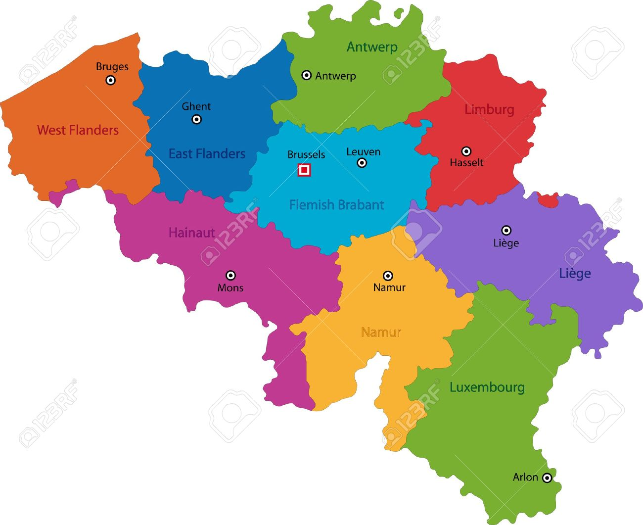 Colorful Belgium Map With Provinces And Main Cities Royalty Free