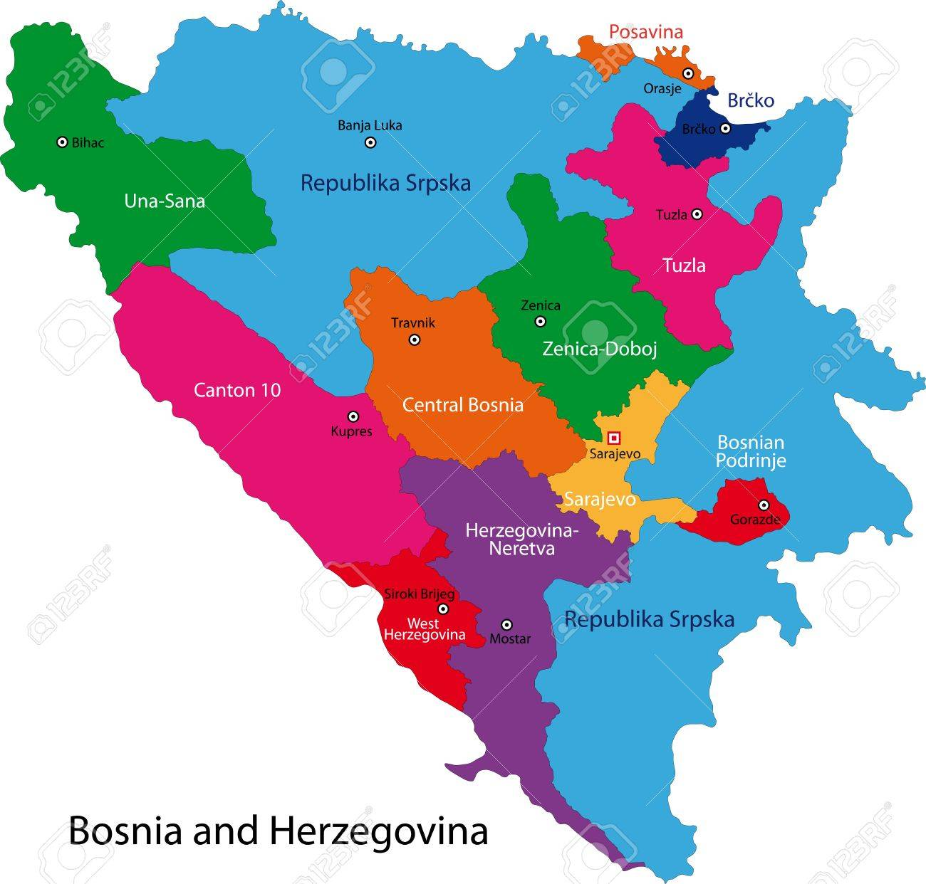 Map Of Administrative Divisions Of Bosnia And Herzegovina Royalty