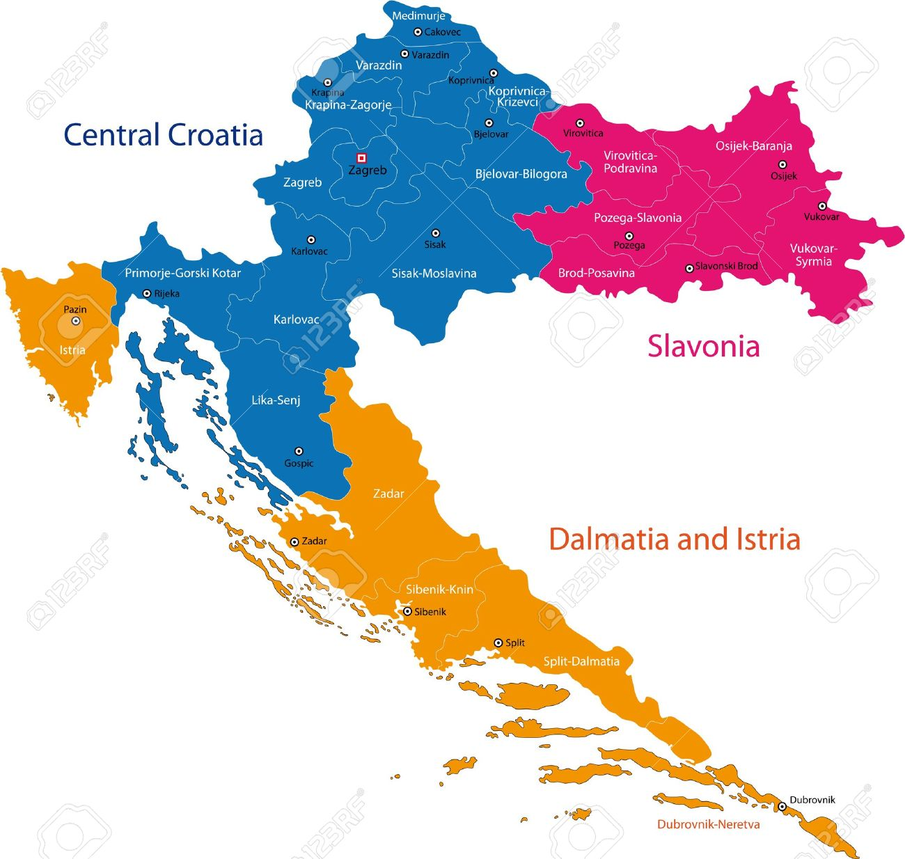 Carte Administrative Croatie.Carte Des Divisions Administratives De La Republique De Croatie