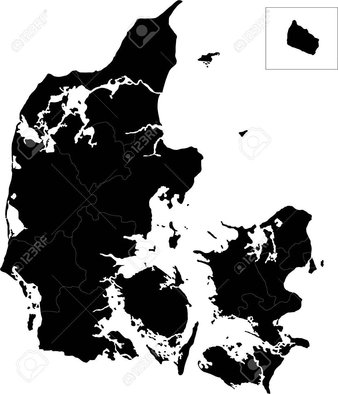 デンマークの地方行政区画の地図...